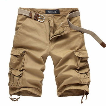 Belted Cargo Shorts With Gusset Pockets
