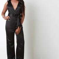 Satin Surplice Wide Leg Jumpsuit