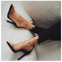 Concise Sexy Women Pumps PVC Clear Silver Buckle Ankle Strap High Heel Stiletto Shoes Woman Party Clubwear Summer Cool Sandals