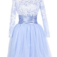 Ellame Juniors' Short Prom Dress With Sleeves Homecoming Cocktail Party Dresses Light Blue US 2