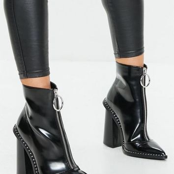 Missguided - Black Zip Front Ring Pull Boots