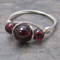 Pyrope Garnet Sterling Silver Wire Wrapped Bead Ring ANY size