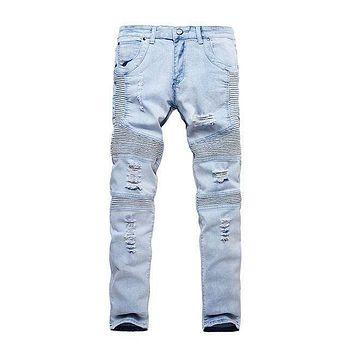 Street Style Man Solid Color Extensible Ripped Jeans