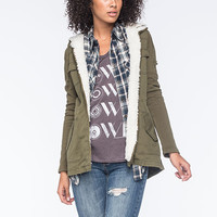 Others Follow Birch Twill Womens Jacket Olive  In Sizes
