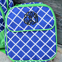 SALE - PERSONALIZED Navy and Lime Lunch Bag - Lunch Box - Crosshatch