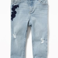 Embroidered Distressed Boyfriend Jeans for Toddler Girls old-navy