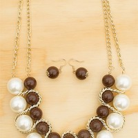 Bead The Best Chained Pearl And Acrylic Bead Necklace Set - Brown