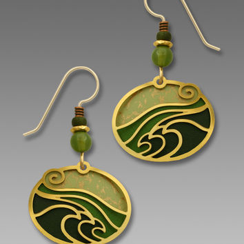Adajio Earrings - Soft Moss Green Oval with Gold Plated Waves Overlay