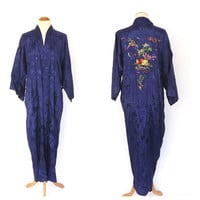 Vintage 1960s Long Blue Robe Golden Bee Floral Embroidered Chinese Silky Damask Robe Lingerie Pin Up Girl Boudoir Size Large Kimono Robe