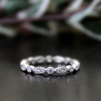 0.64 ct.tw Lovely Eternity Band Ring-Brilliant Cut Diamond Simulants-Bridal Ring-Wedding Ring-Promise-Stackable-925 Sterling Silver