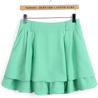 Green Layered Mini Skirt
