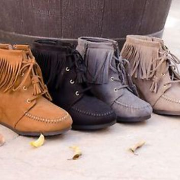 Women's Ankle Boots Moccasin Fringe Wedge Faux Suede New Tassel Booties 5.5-11