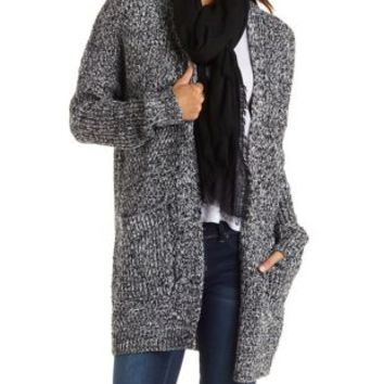 Black/White Oversized Marled Cardigan Sweater by Charlotte Russe
