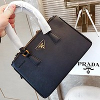 Onewel Prada classic bag with simple and square lines and tough triangle embellishment Black