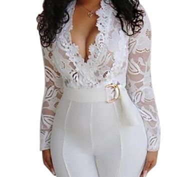 Hot women's deep v-neck sexy lace long-sleeved hollow jumpsuit