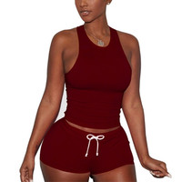 5 Colors Summer Style Women Sexy 2pcs Sets 2017 Fashion Slim Fit Vest Top And Drawstring Hot Shorts Ladies Party Club Suits