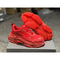 Balenciaga Triple S Clear Sole Trainers Red Sneakers 35-45
