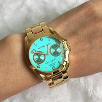 MICHAEL KORS Fashion new blue letter dial watch men Golden