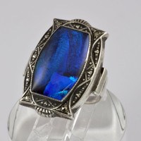 Vintage Sterling Silver Ring - 1930s Butterfly Wing Ring - Peacock Blue Cocktail Ring - Art Deco with Marcasite - Statement Ring - Size 7.5