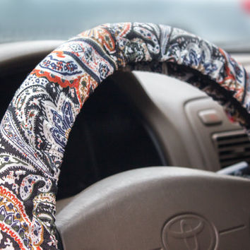 steering wheel cover, men's and women's car accessory, steer cover, automobile wheel cover, car decor – car gift idea for her, for him