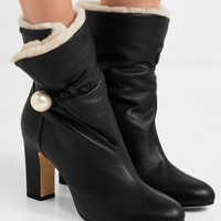 Jimmy Choo - Bethanie 85 shearling-lined textured-leather ankle boots