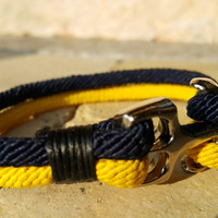 FREE SHIPPING-Mens, Woman Bracelet,Nautical Anchor Jewelry, Yellow and Navy Blue Silk Ropes, Unisex