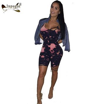 Hot New tie-dyed Print Sleeveless Women Sexy Rompers Women Bodysuis Club Short Playsuits Jumpsuits