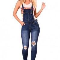 Denim Laid Back Distressed Overalls