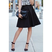 OL Style High-Waisted Solid Color Women's Flare Skirt