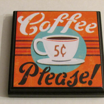 Retro Coffee Kitchen Room Wall Plaques - Set of 4 Retro Coffee Room Decor - Retro Coffee Wall Signs