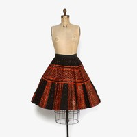 Vintage 50s Mexican Circle SKIRT / 1950s Mexican Hand Painted Rust & Black Sequin Full Skirt