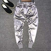 VERSACE Fashion Men Women Cool Print Sport Pants Trousers Sweatpants Silvery Grey