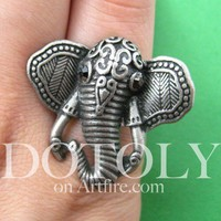 Adjustable Elephant Animal Ring in Silver with Patterned Detail