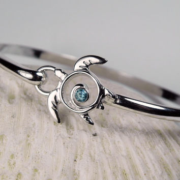 Turtle Bracelet - Sea Turtle Blue Topaz Sterling Silver Gemstone Bangle Island Hook- Unique Turtle Jewelry Sea Life Nautical Birthstone