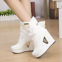Heavy-bottomed High-heeled Fashion Boots Waterproof Boots [8833990732]
