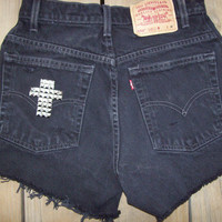 High Waisted Distressed Black Studded Cross by DenimAndStuds