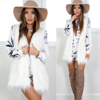 CharmDemon Warm Outwear Women Sleeveless White Slim Vest Faux Fur Waistcoat Coat nr16
