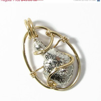 Summer SALE Two Tone Fused Sterling Silver Nugget Cabochon and 14k Gold Fill Wire Wrapped Pendant Necklace recycled sterling silver