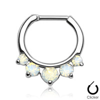 Septum Clicker Opalites White Nose Jewelry Surgical Stainless Steel Body Jewelry Daith