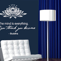 Wall Decal Vinyl Sticker Decals Art Decor Design Lotus Sign Buddha Quote What you think you become Yoga Ganesh Fashion Bedroom Dorm (r577)