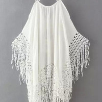 White Strappy Tassels Cut-out Top