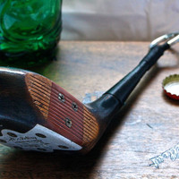 Golf Club Bottle Opener - Spalding Persimmons 2 Wood  -- Golf Gift