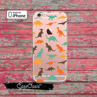 Dinosaur Pattern Dino Colored T-Rex T Rex Clear Case iPhone 6 Plus iPhone 6s iPhone 6s Plus iPhone 5 iPhone 5c iPhone SE iPhone 7 + Case