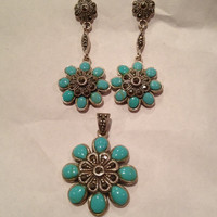 Turquoise Marcasite Sterling Earrings Pendant Set Flower Floral 925 Silver Enhancer 4 Necklace Vintage Jewelry Southwestern Birthday Gift
