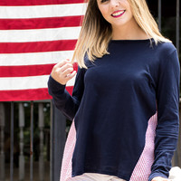 Navy L/S Top with Contrast Back