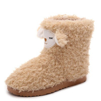 Warm Cotton-Padded Shoes Cute Ankle Boots Soft-Soled Slippers At Home Candy-Colored Plush Boot Size 36-40