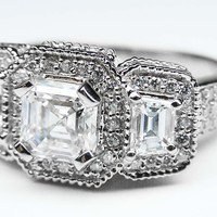 Engagement Ring - Asscher Cut Diamond Vintage Style Engagement Ring Setting with Trapezoids in 14K White Gold - ES240AC