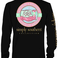 Simply Southern Preppy Collection Southern State of Mind Long Sleeve Tee in Black LSPRPSTATE-BLACK