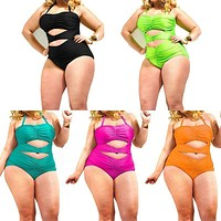 Plus Size One Piece Swimwear  Hollow out Bathing Ladies Swimsuit with Tie at Neck