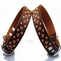 Pet Product For Dog Pet Collar Lead Rubber & Nylon Leather High Quality Black Brown White Dog Collar 1pcs/lot